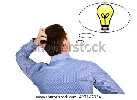 Thoughts and ideas of the business man and the sign lit lamp. concept ideas - stock photo