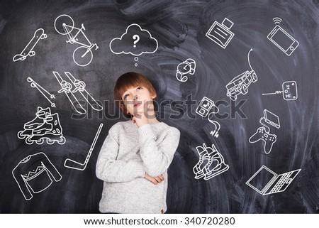 Thoughts of children against the black chalkboards