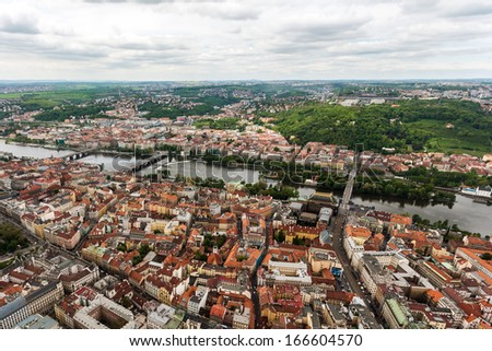 Thousands of Prague's red roofs - stock photo