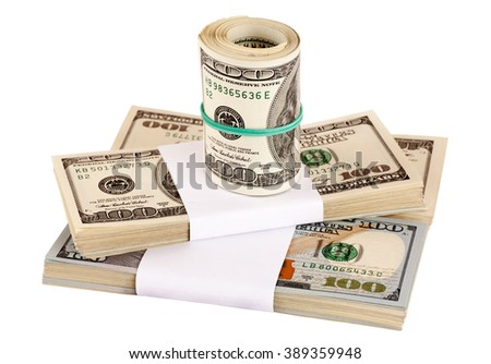 Thousands of US dollars in bundles isolated on white, closeup, selective focus - stock photo