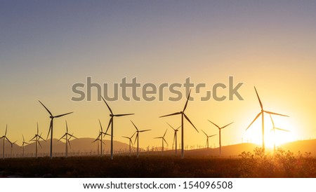 Thousands of wind turbines, in Tehachapi Pass, California. - stock photo