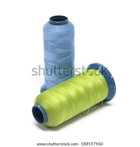 Thread Green blue on white background.