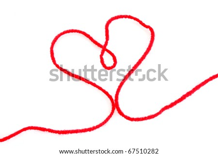thread of wool in heart shape isolated on white - stock photo