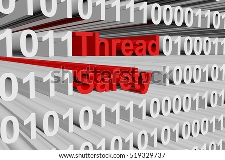 Thread safety in the form of binary code, 3D illustration