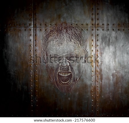 threadbare rusty  steel covering with rivet,  iron background, aggression rage concept - stock photo