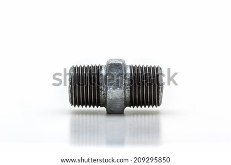 Threaded connector (Hexagon Nipple) ,pipe fitting on white background.  - stock photo