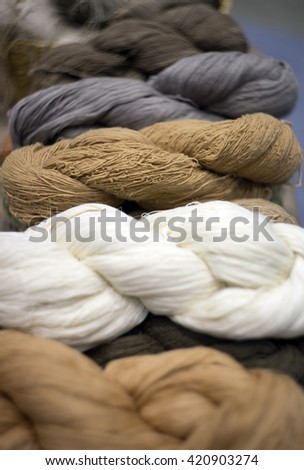 threads multicolored background - selective focus. - stock photo