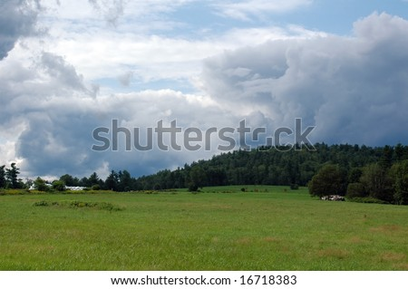 Threatening storm clouds in the sky near Paris, Maine