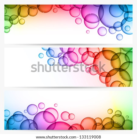 Three abstract background with multicolored bubbles - raster version - stock photo