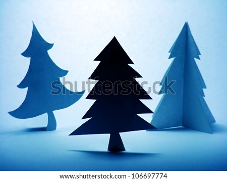 Three abstract paper christmas trees