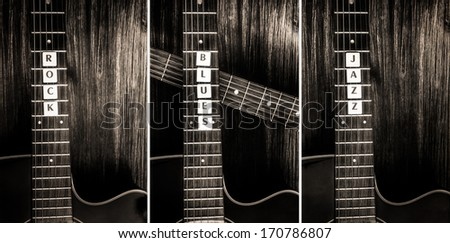 Three acoustic guitars in vintage style and signs rock, blues, jazz