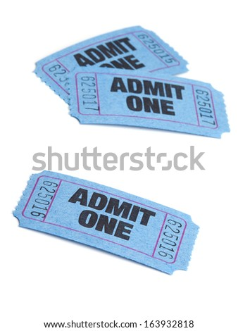 Three Admit One Entry Tickets, Isolated on White Background. Selective Focus