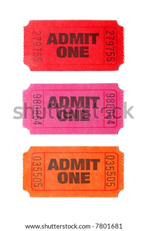 Three Admit One tickets isolated on white background