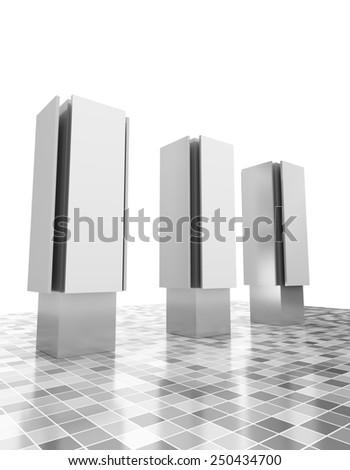 three advertising pillars or poles - stock photo