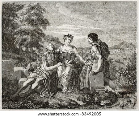 Three ages of life old pictorial representation. Created by Gerard, published on Magasin Pittoresque, Paris, 1840 - stock photo