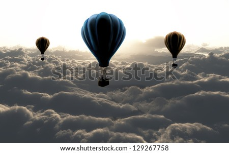 three air balloon on sky with clouds - stock photo