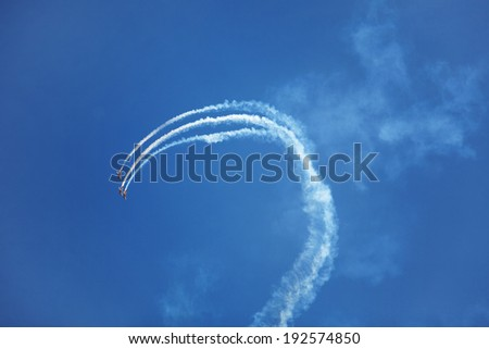 Three airplane flying in the blue sky - stock photo