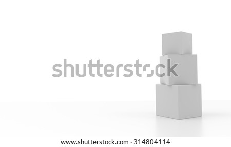 Three aligned 3d blank concept boxes with reflections, isolated on white background. Rendered illustration.