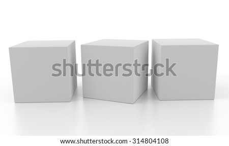 Three aligned 3d blank concept boxes with shadows isolated on white background. Rendered illustration. - stock photo