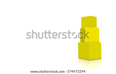 Three aligned yellow 3d blank concept boxes with reflections, isolated on white background. Rendered illustration.  - stock photo