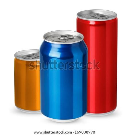 Three aluminum cans isolated on white background - stock photo