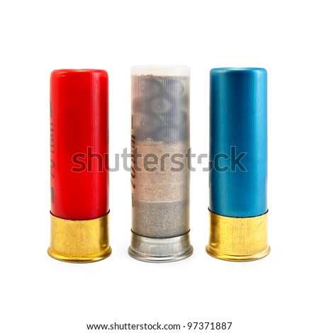 Three ammunitions for the shotgun, red, blue isolated on white background - stock photo