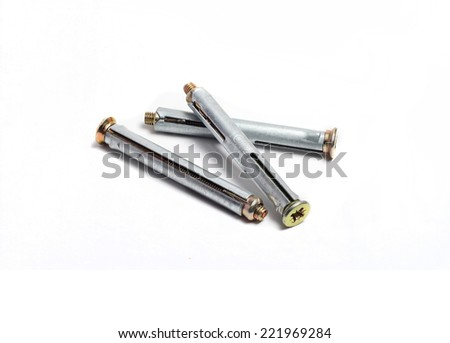 three anchor bolts on white background