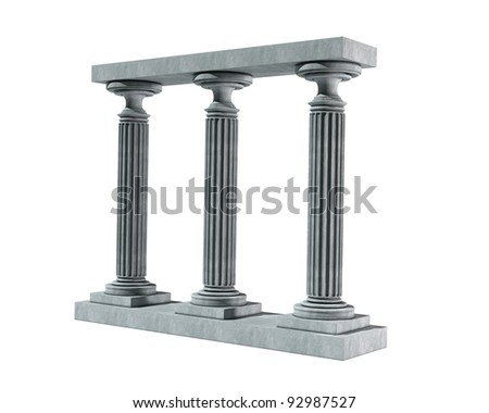 Three ancient columns of marble isolated on white background High resolution 3D