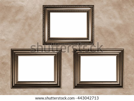 three antique frames with white copy space sepia toned image in retro style
