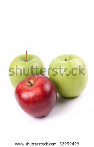 Three apples isolated on white