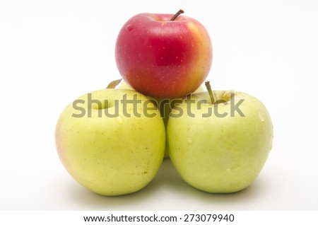 three apples on a white background - stock photo