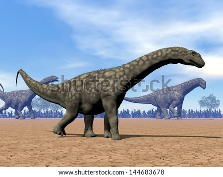 Three argentinosaurus dinosaurs walking in the desert by day