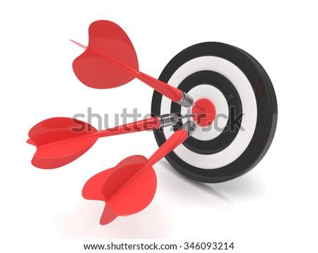 Three arrows darts in center. - stock photo