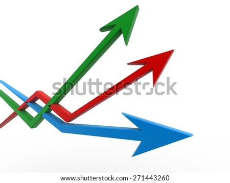 Three arrows directed every which way - stock photo