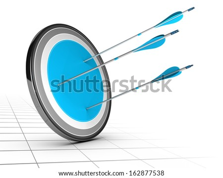 Three arrows hits the center of a target with a large blue center, white background with perspective. Achieving simple goal concept.