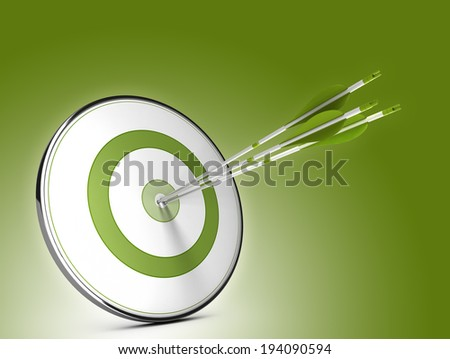 Three arrows hitting the center of a target over green background. Illustration of strategic objectives success - stock photo