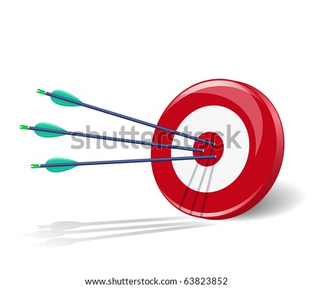 Three arrows in the center of target. Raster version of vector illustration (id: 61753132)
