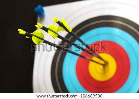 three arrows with a perfect score - stock photo