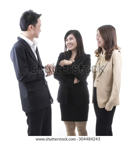 Three asian business in office on white background