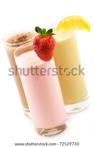 Three assorted protein cocktails isolated on white background.