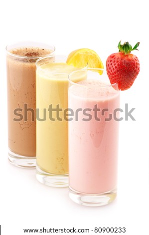 Three assorted protein cocktails isolated on white background. - stock photo