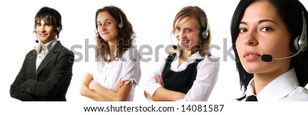 Three attractive young customer service representative ladies and a young call center operator guy are smiling and they are talking to their clients using headphones. They are wearing elegant shirts. - stock photo