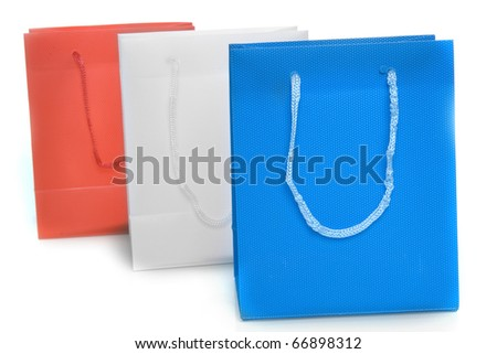 three bags on a white background - stock photo
