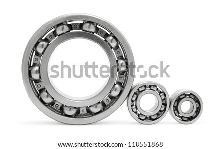 three ball bearings, over white, clipping path