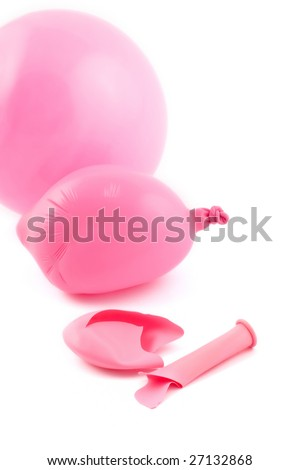 Three balloons, with flat and burst ones - stock photo