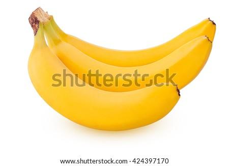Three bananas isolated on white background - stock photo