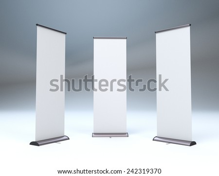 three banners or roll-ups - stock photo