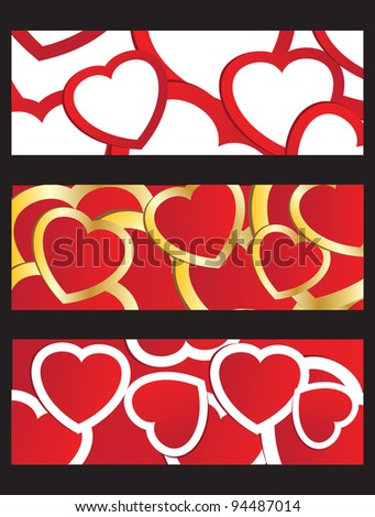 Three banners with valentines multicolored hearts. Jpeg