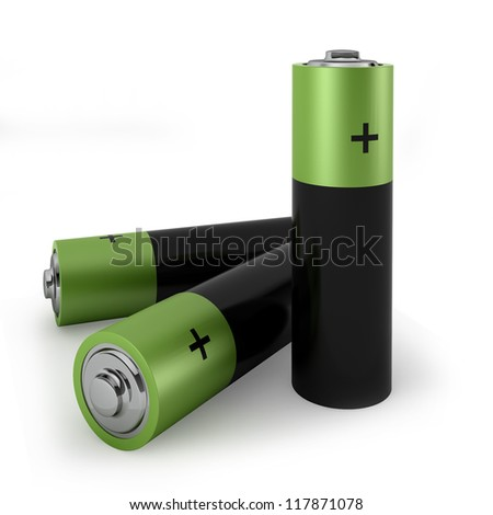 three batteries  - 3d render on white - stock photo