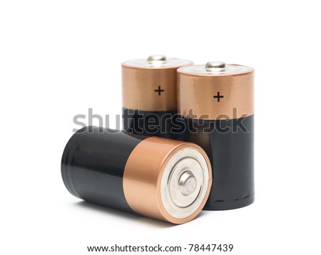 Three batteries on a white background - stock photo